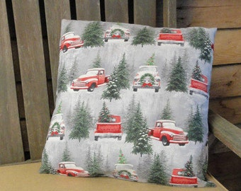 Red Trucks and Christmas Trees Pillow Cover // Holiday Pillow // 18x18 // 20x20 // 22x22 // Vintage Holiday Decor // Rustic Home Decor