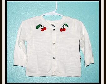 Girls Rockabilly Cherry Print Cardigan ....size 12 months