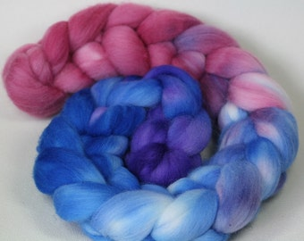 Shellseekers - hand dyed Organic Polwarth wool combed top - 4 oz