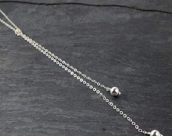 Sterling Silver Lariat Necklace • Mother Gift from Daughter • Boho Chic Jewelry • Minimalist Necklace • Silver Y Necklace•Best Selling Items