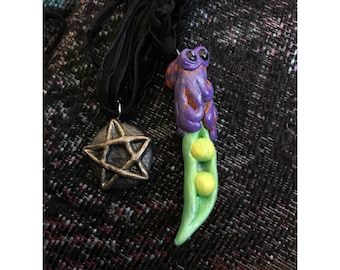 Glow in the Dark Octopus on a Pea Pod Pendant Necklace