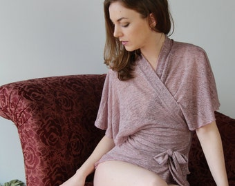 sheer linen wrap with flutter sleeves and metallic sparkle in lightweight jersey - MICA lounge wear range - made to order