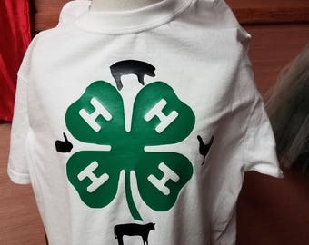 4H shirt with pig rabbit chicken and steer
