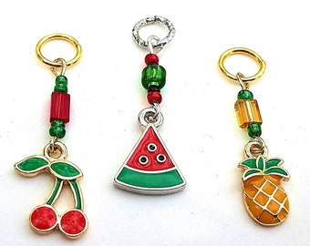 Hearing Aid Charms:  Sweet Treats Petites with Czech Glass Bead Accents!  Pineapple, Cherries, and Watermelon!