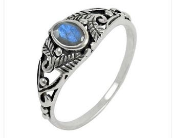 Ring Silver 925 Moonstone natural Spiral
