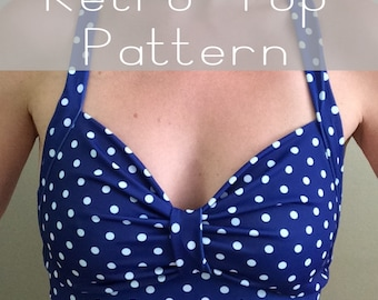 SALE! Sewing PDF Pattern and Tutorial for Retro Style Yoga, Dance, or Swimsuit Top