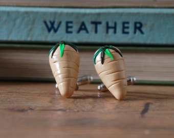 By the Shed Parsnip Root Vegetable Cufflinks - Rhodium Plated - Allotment - Vegetarian - Gardening - Vegetable - Fruit - Beige - Plot