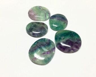 Fluorite Worry Stone with Velvet Bag - Fluorite Palm Stone, Rainbow Fluorite, Natural Crystal Healing, Chakra