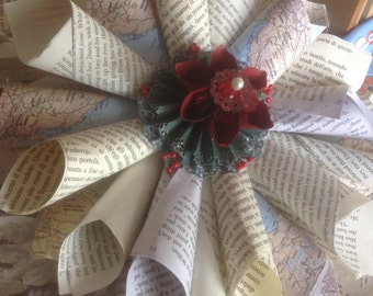 Book Page Wreath, Map, or Sheet Music Wreath 12 Inches Christmas Style