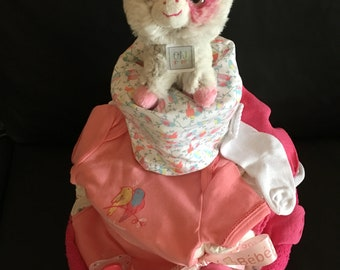 """""""Pink cow"""" diaper cake"""