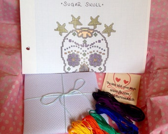 Sugar Skull Day of the Dead Cross Stitch Kit Gift Set