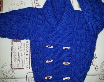 Hand Knitted Baby Boys Royal Blue  Double Breasted Cardigan with Wooden Toggle Buttons and Matching Hat Set For 0-3 Months.