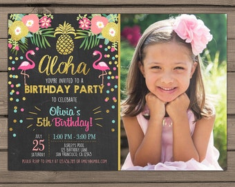 Flamingo party invitation Tropical Birthday Invitation luau birthday party Flamingo pool party Pink mint Gold Digital PRINTABLE ANY AGE ftp