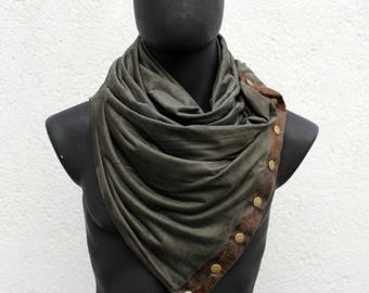 Mens & Womens Infinity scarf,metallic snaps,Vegan cowl,green faux suede,FAUX brown LEATHER,modern style,soft and cozy. gift for her him