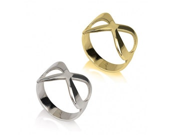 Classic Infinity Ring, 8 Ring, Sterling Silver, Gold Plated or Rose Gold Plated, Simple Everyday Rings, Best Friend Rings