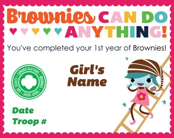 Girl Scout Brownie Completion Certificates
