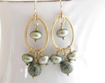 Green Dangle Earrings Chandelier Earrings Freshwater Pearl Russian Serpentine 14kt Gold Fill Sage Bridesmaid Earrings Green Wedding Jewelry