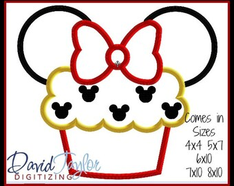 Cupcake Minnie Embroidery Design 4x4 5x7 6x10 7x10 8x10 in 9 formats-Applique Instant Download-David Taylor Digitizing Party 1st Birthday