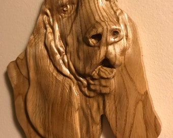 Basset Hound 3-D carving Oak wood