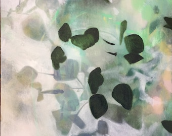 White and Mint Eucalyptus Botanical-- Modern Art