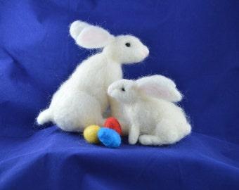 Needle Felting Kit 1 White Rabbit Easter Bunny with Easter Eggs or 2 Baby White Rabbit Easter Bunnies with Easter Eggs