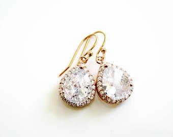 Clear crystal dangle earrings, Rose Gold Earrings, Bridal earrings, Bridesmaids gifts, teardrop earrings, Bridesmaids Earrings, Gift for Her