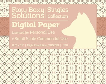 Decorative Diamonds - Single Sheet in Pink Blush on a Cream Background - Printable Scrapbooking Paper, Crafting Supply