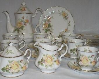 Paragon Peace Rose Tea Coffee Pot Cream Sugar Cups Saucers Plates