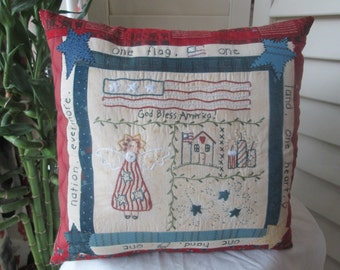 Patriotic Pillow -Patriotic Americana Sampler - Hand Embroidered Decorative Pillow - Americana Room Decor - Farmhouse Room Accent - Country