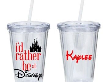 Disney Tumbler - I'd Rather be at Disney personalized tumbler
