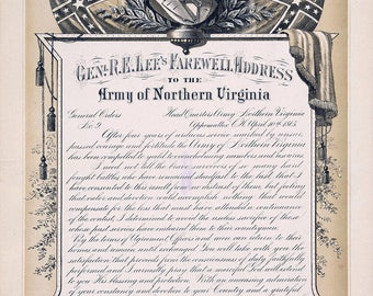 Farewell Address by General Robert E. Lee to the Army of Northern Virginia. Fine Art Print/Poster. (4901)