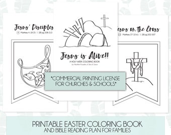 Commercial Printing License - HOLY WEEK Printable Coloring Book - Kids' Easter Activity - diy Easter decoration