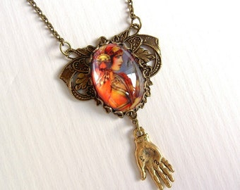 Gypsy Palm Reader Necklace in Copper and Grey and Gold