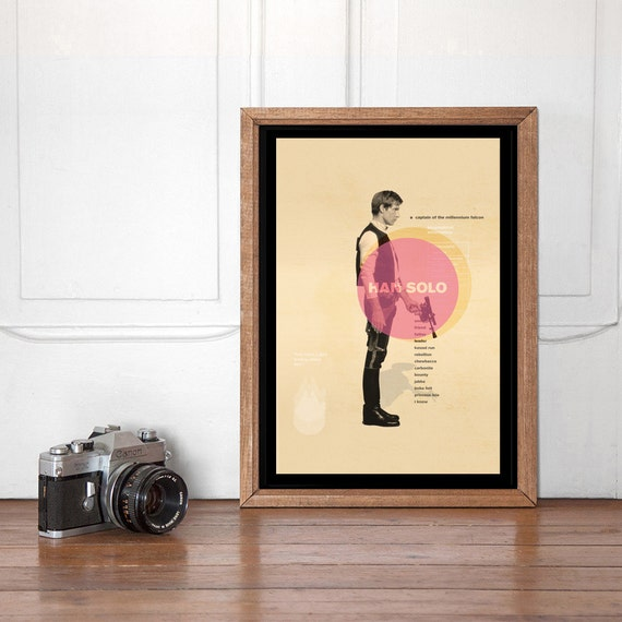 Han Solo Mid Century Poster Star Wars Wall art Printable