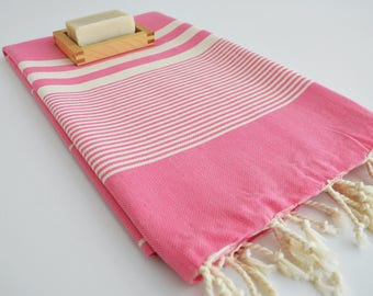 NEW / SALE 50 OFF/ Turkish Beach Bath Towel / Classic Peshtemal / Pink / Wedding Gift, Spa, Swim, Pool Towels and Pareo
