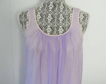 Dreamy Vintage Purple and Pink Babydoll Nightgown Bust 38 Retro Lingerie