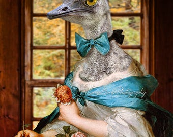 Funny Ostrich, Photography Print, Fun Fine Art, Animal Morph, Portrait of a Woman, Whimsical Animals, Humor, Big Bird Art, Funny Animal Art