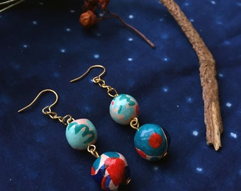 RED & BLUE | hand painted clay drop earrings