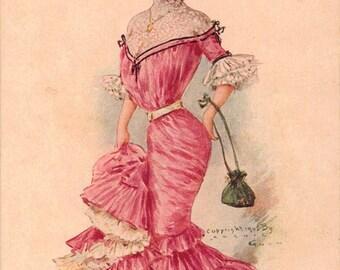 Vintage Postcard, Artist Signed ARCHIE GUNN,  Miss New York, ca 1910