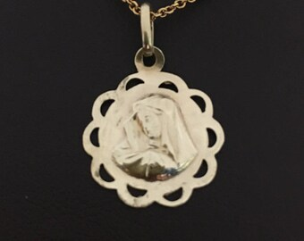 Gold Virgin Mary / Madonna Pendant, Religious Medallion 10k Yellow,Small Religious Pendant