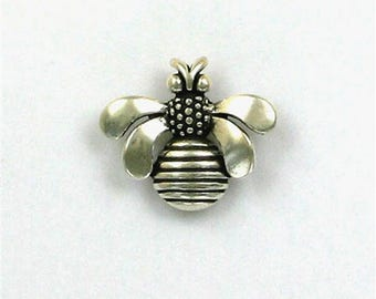 Sterling Silver Honey Bee Pendant or Charm