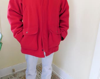Vintage, LL Bean, Red Wool Coat, Hunting Jacket, Men's Size 46, Made in USA