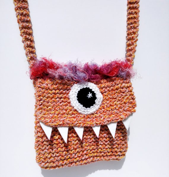 Silly Cyclops Hand Knit Bag - Orange and Pink