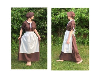 Dress Only-Apron and Bonnet Not Included-Women's Pioneer Trek Colonial Frontier Prairie Pilgrims Renaissance Reenactment Dress Costume Adult