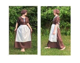 Size 3XL Complete Outfit - Womens Pioneer Trek Colonial Frontier Prairie Pilgrims Renaissance Reenactment Civil War Dress Costume Adult Size