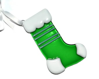 Christmas Stocking Ornament, Christmas Stocking, Fused Glass, Green with White Stripes, Christmas Decor, Glass Stocking