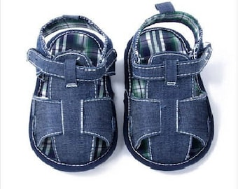 baby sandals, summer booties 6-9 months, boy sandals, blue shoes, first shoes, soft sole,