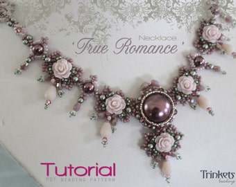 Tutorial for beadwoven necklace 'True Romance' - PDF beading pattern - DIY