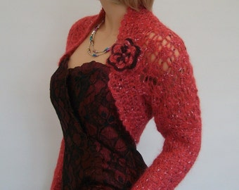 Hand Knitted Crochet Deep Pink 52 % Mohair Shrug / Bolero - Scarf,  Long sleeves, Size: M , UK 12, USA 10, EUR 40