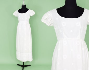 60s Wedding Dress | Long White Cotton Maxi Dress | Short Sleeve Long  Dress | Small
